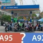 Khác biệt giữa xăng A92 và A95